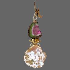 Watermelon Tourmaline and Freshwater Keshi Petal Pearl dainty 14k Gold-filled Earrings by Gem Bliss Jewelry