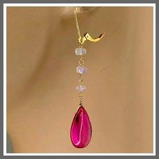 Opal and Hot Pink Quartz teardrop briolette with Ethiopian Opal 14K Gold-filled Earrings by Gem Bliss Jewelry