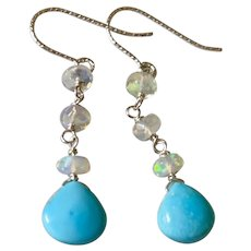 Opal and Turquoise Robin's egg blue briolette and Ethiopian Opal Sterling Silver Earrings by Gem Bliss Jewelry