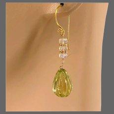 Opal and Lemon Quartz on 14K Gold-filled Earrings by Gem Bliss Jewelry