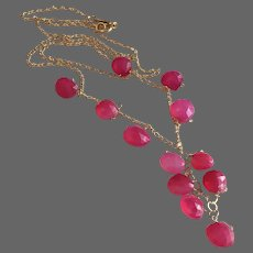 Pink Chalcedony Bib style Cascade Gold-filled necklace by Gem Bliss Jewelry