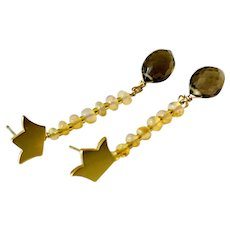 Opal and chocolate Smoky Quartz 14K Gold-filled Mini Crown Stud Post Earrings by Gem Bliss Jewelry