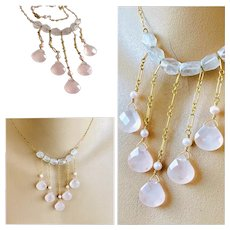 Pink Quartz Bib style Cascade Gold-filled necklace by Gem Bliss Jewelry