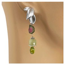 Peridot and Green Prehnite cubes with classic Watermelon Tourmaline Slices dangling drop earrings by Gem Bliss Jewelry
