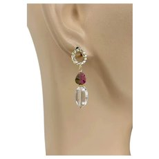 Watermelon Tourmaline and faceted crystal quartz oval Gold plated stud post drop earrings by Gem Bliss Jewelry.