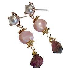 Peruvian Opal Raw Tourmaline drop golden stud post earrings by Gem Bliss Jewelry