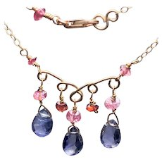 Tanzanite, Tourmaline, Garnet delicate Gold filled Scrollwork necklace by Gem Bliss Jewelry