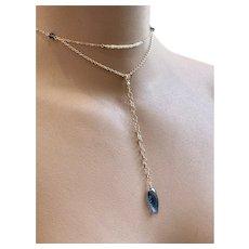 Opal and London blue Quartz glass Lavalier pendant necklace mini Y-style Lavalier Gold-filled blue Necklace by Gem Bliss Jewelry