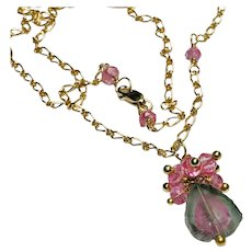 Large Tourmaline Gem Slice pendant Necklace Watermelon Tourmaline and Pink Sapphire Gold-filled Necklace by Gem Bliss Jewelry.