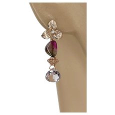 Rose Gold-filled Stud post Watermelon Tourmaline pink Quartz combination drop Earrings by Gem Bliss Jewelry.