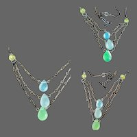 Triple Strand Ocean Colors Sterling Silver necklace Camp Sundance by Gem Bliss Jewelry