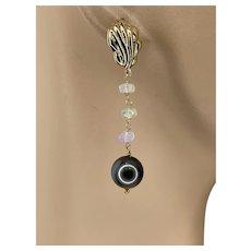 South Sea Black Pearl Welo Opal Earrings by Gem Bliss Jewelry