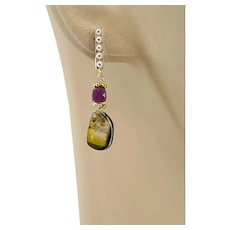 Green Watermelon Tourmaline Ruby Dainty bar stud post dangle earrings by Gem Bliss Jewelry