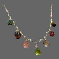"Rainbow Tourmaline Bib Necklace Multicolor Tourmaline Gold Scallop Necklace 17"" Necklace by Gem Bliss Jewelry"
