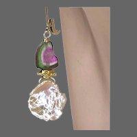 Watermelon Tourmaline Slices Keshi Petal Pearls on lever-back Earrings by Gem Bliss Jewelry