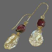 Petal Pearl Watermelon Tourmaline Slice dainty Earrings by Gem Bliss Jewelry