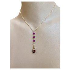 Tourmaline Ruby Lavalier necklace mini Y Lavalier Necklace pendant January Birthstone by Gem Bliss Jewelry