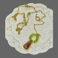 Pink Rubellite Tourmaline carved pendant and Peridot Lavalier combination pendant Necklace by Gem Bliss Jewelry