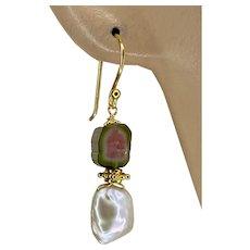 Watermelon Tourmaline Slices Keshi Petal Pearls on hook Earrings by Gem Bliss Jewelry