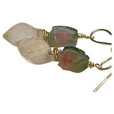 Tourmaline Rose Quartz Pink and Green Watermelon gem slice Earrings by Gem Bliss Jewelry