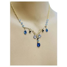 Blue Kyanite Scrollwork necklace, Kyanite Jewelry, Mystic blue, Handmade, Gold-Filled necklace by Gem Bliss Jewelry.