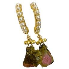 Raw Watermelon Tourmaline Dainty bar stud post dangle earrings by Gem Bliss Jewelry
