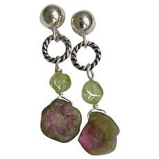 Raw Watermelon Tourmaline Peridot Dainty Post Stud Sterling Silver Earrings by Gem Bliss Jewelry