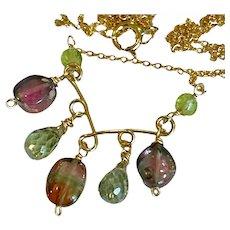 Tourmaline Topaz Unique Scrollwork Necklace by Gem Bliss Jewelry