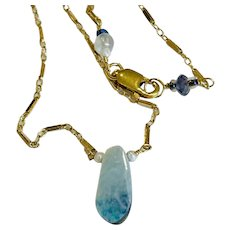Boulder Opal Gold filled Solitaire blue Opal Doublet 16-inch mini bar chain by Gem Bliss Jewelry