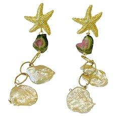 Watermelon Tourmaline Keshi Petal Pearl chandeliers on Starfish Earrings by Gem Bliss Jewelry