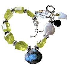 Zircon Labradorite bracelet, Silver bracelet, Abalone, Garnet, Opalite charms, Camp Sundance, Gem Bliss