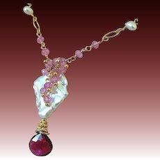 Tourmaline necklace, Baroque Pearl Necklace, Pink Topaz Tourmaline pendant, Camp Sundance jewelry, Gem Bliss