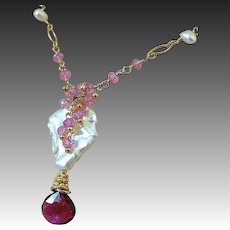 Tourmaline necklace, Baroque Pearl Necklace, Pink Topaz Tourmaline pendant, Camp Sundance jewelry, Gem Bliss