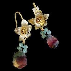 Tourmaline earrings, Watermelon Tourmaline  slices, flower hook earrings, Camp Sundance, Tourmaline jewelry, Gem Bliss