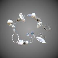 Bridal Pearls bracelet, Silver Bracelet. Marcasite Labradorite charms, Camp Sundance, Gem Bliss