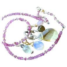 Pink Topaz necklace, Charms necklace, Opalite, Rose Quartz, convertible bracelet, Silver, Camp Sundance, Gem Bliss