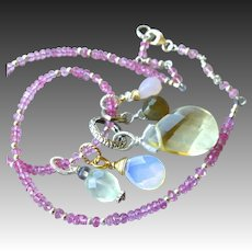Pink Topaz necklace, Charms necklace, Opalite, Rose Quartz, convertible bracelet, Silver, Camp Sundance, Gem Bliss