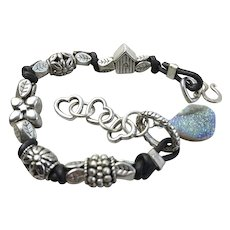 Druzy Leather bracelet, Euro charms, bold layering bracelet, silver Camp Sundance jewelry
