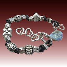 Druzy Leather bracelet, Euro charms, bold layering bracelet, silver Camp Sundance jewelry