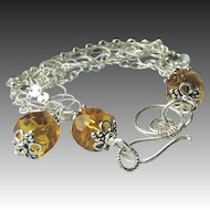 Silver charm bracelet, 5 strand mixed links bracelet, golden Camp Sundance jewelry