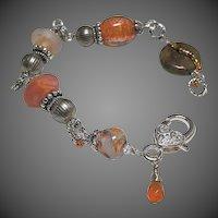 Lampwork Silver bracelet, Glass Silver charm Bracelet, OOAK, Camp Sundance jewelry, Gem Bliss Jewelry
