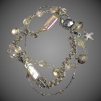 Silver Pearls charm bracelet, Crystals, Pearls, 3 strand, Camp Sundance jewelry, beach chic, Gem Bliss