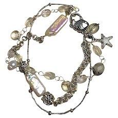 Silver Pearls charm bracelet, Crystals, Pearls, 3 strand, Camp Sundance jewelry, beach chic, Gem Bliss