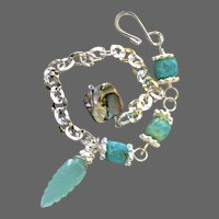 Amazonite Abalone Silver layering bracelet adjustable charm bracelet Camp Sundance Gem Bliss