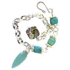 Amazonite Abalone Silver layering bracelet adjustable charm bracelet Camp Sundance Gem Bliss