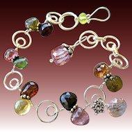 Tourmaline bracelet Silver bracelet charm bracelet Rose Quartz Camp Sundance Gem Bliss