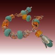 Copper, Turquoise bracelet, weave wrap, Camp Sundance, charms bracelet, Gem Bliss, rustic, urban cowgirl