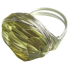 Citrine Silver ring, Limoncello Ring, gem wrap designer ring, Camp Sundance, Gem Bliss