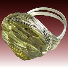 Citrine Silver ring, Limoncello Ring, gem wrap designer ring, Camp Sundance, Gem Bliss