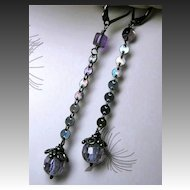Amethyst dark Silver drop earrings dangle Camp Sundance